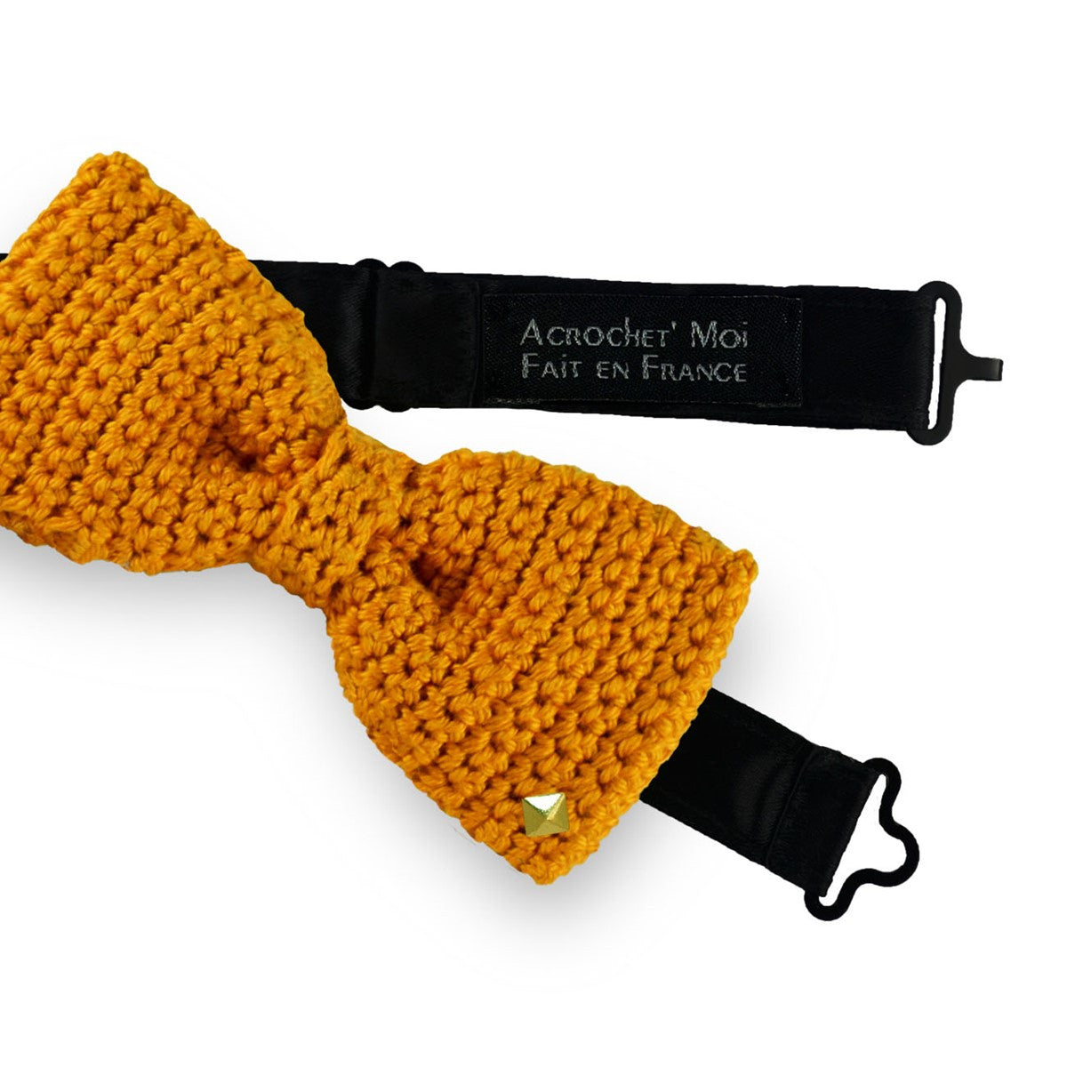 Ochre bow tie - cufflinks crochet made in France Aube