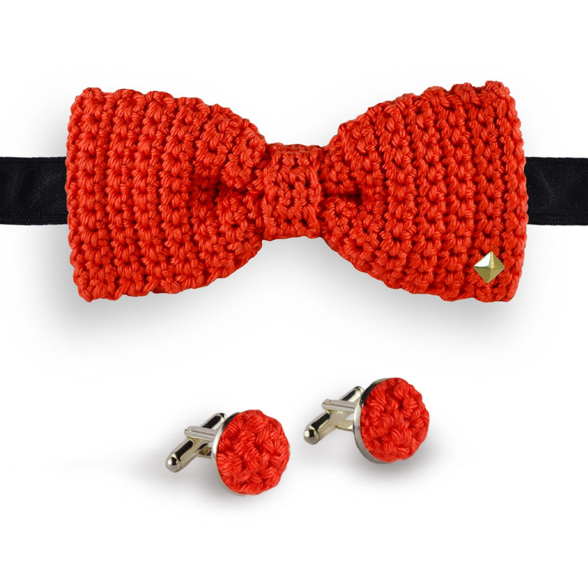 Red bow tie - cufflinks crochet made in France Couchant