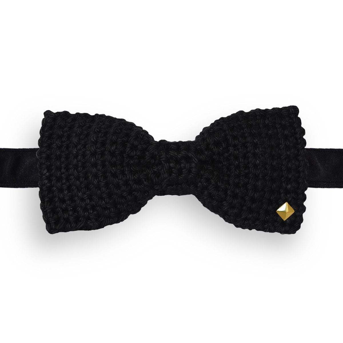 Black Bow Tie Crochet Made in France Caviar