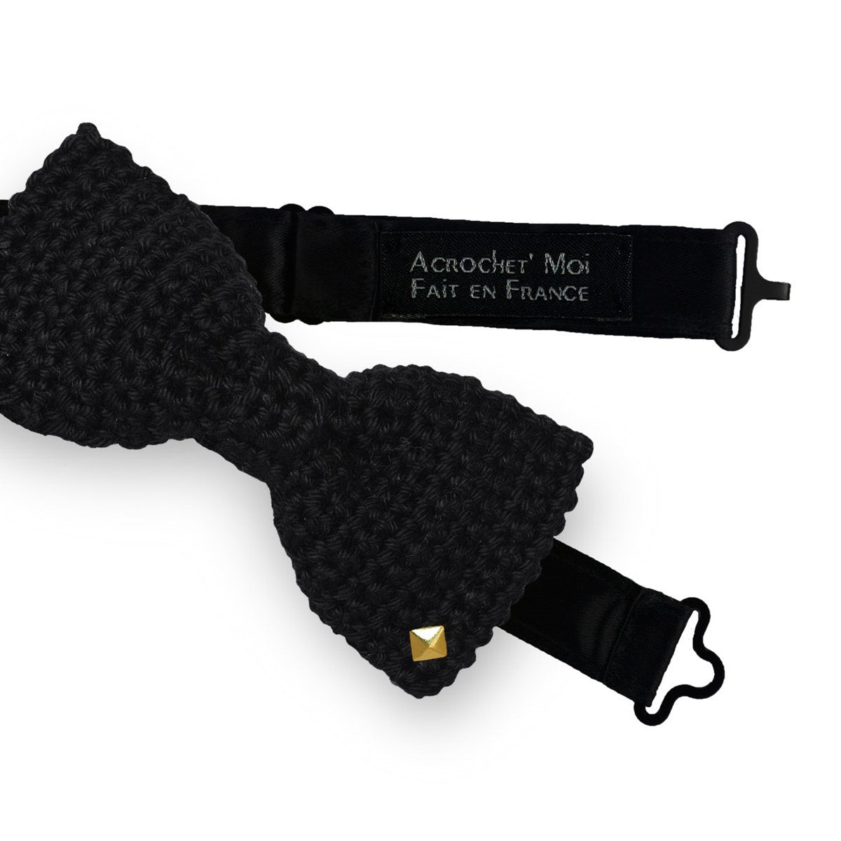 Black Bow Tie Crochet Made in France Caviar - anderos