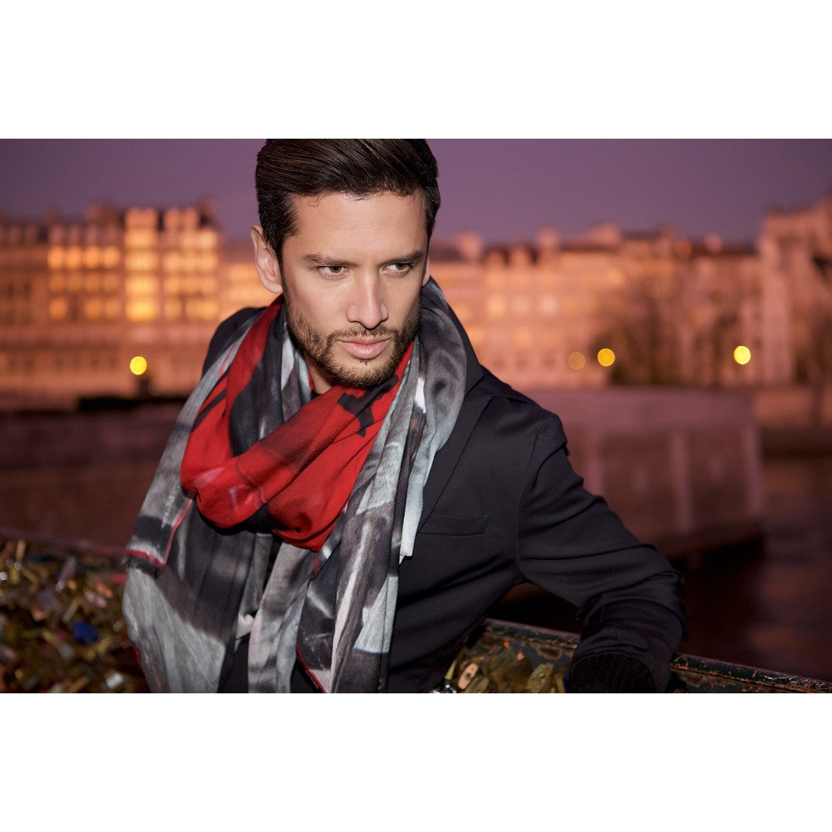Lock and Love scarf red and black Cashmere