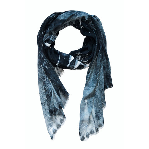 Scarf gold and fish black Cashmere Design