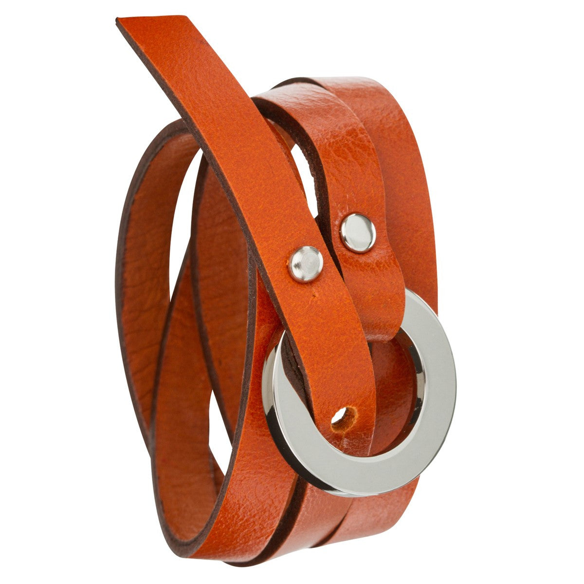 Triple leather wrap bracelet Catchy orange