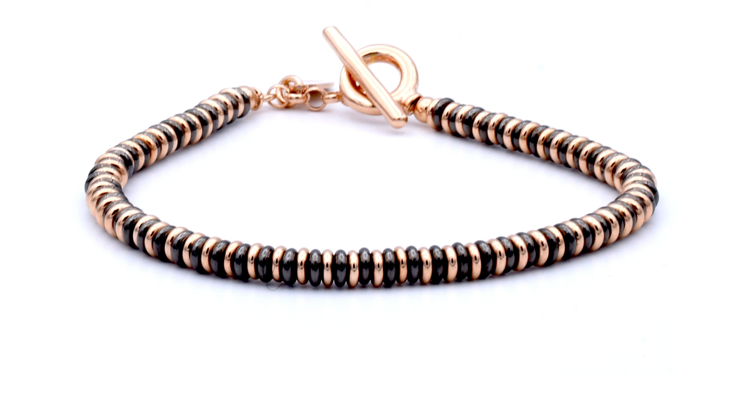 Small Beed Plated Pink Gold And Black PVD