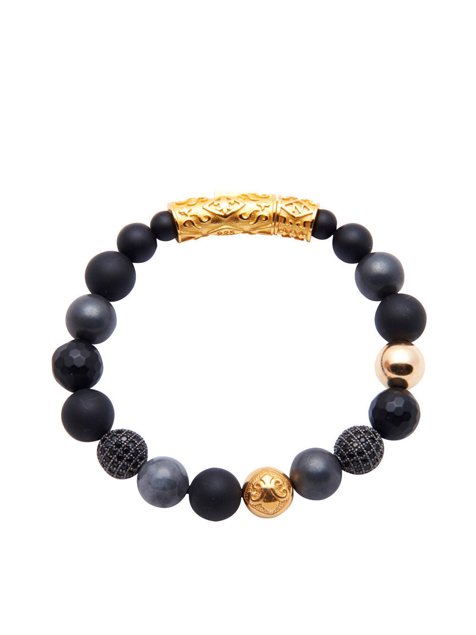 Men's Beaded Bracelet with Hematite, Matte Onyx, Gold and Black CZ Diamonds