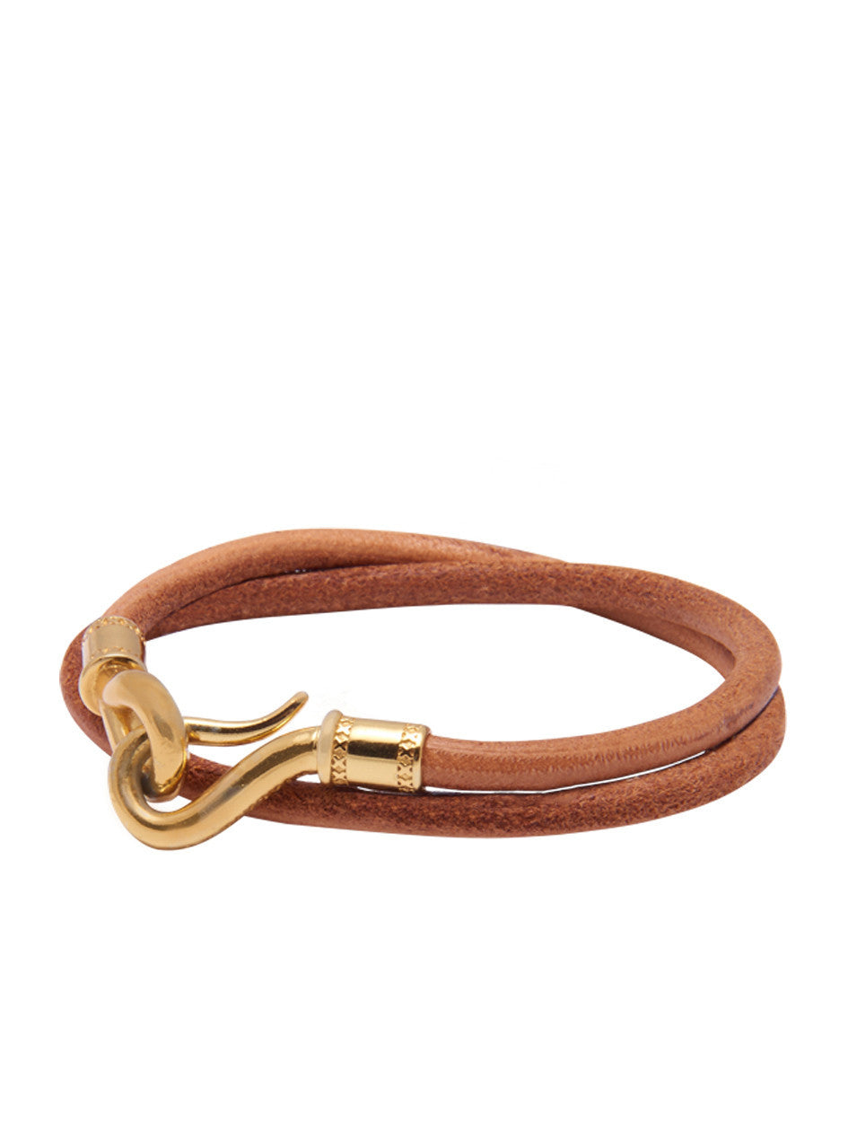 Men's Brown Double-Wrap Leather Bracelet with Gold Hook Lock