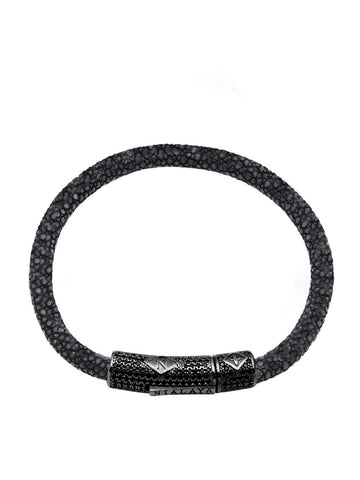 Men's Black Stingray Bracelet with Black CZ Diamond Lock