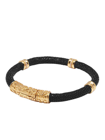 Men's Black Stingray Bracelet with Gold Ring Accents