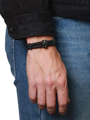 Men's Black Stingray Bracelet with Black Rhodium Skull