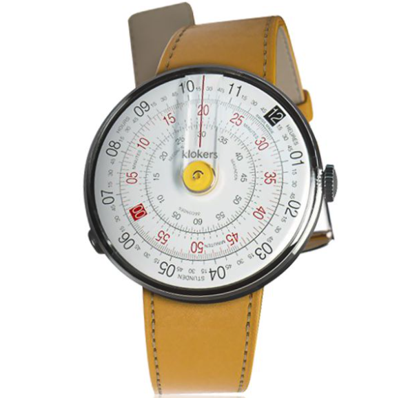 Klokers  KLOK-01 in yellow with a yellow leather simple strap