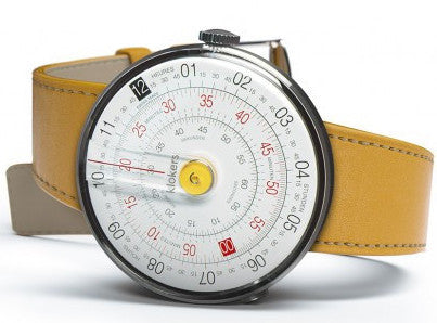 KLOK-01 in yellow with a yellow leather simple strap