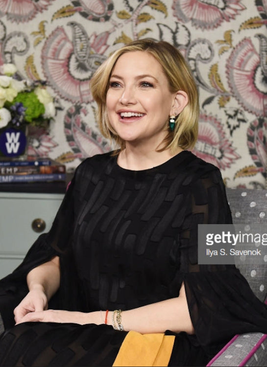 Kate Hudson was spotted wearing House Of Mahnik Semiramis green earrings at the interview with access Hollywood.