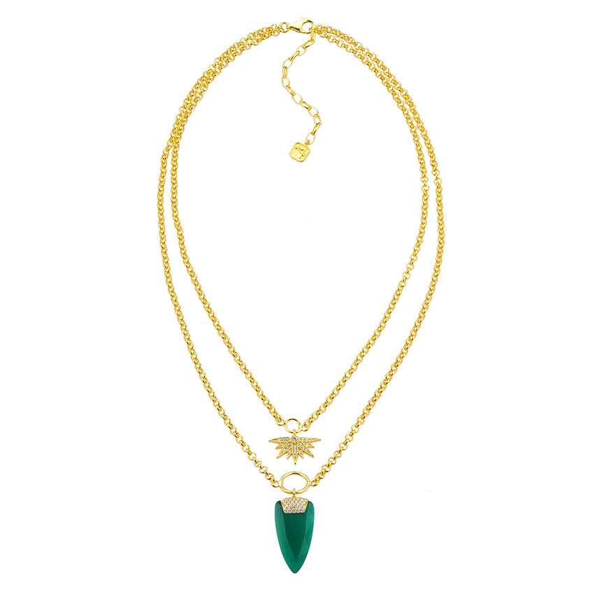 emerald green, double chain necklace