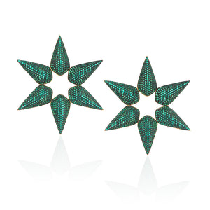Cleofe Star Earrings in emerald green zirconia.