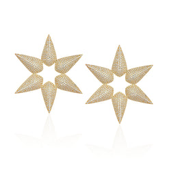 Clèofe Star earrings in yellow gold plated.