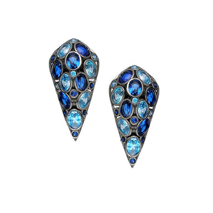 Delicate stud earrings, in the two tone blue color.