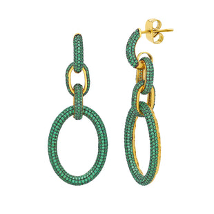 Emerald green stone earrings.