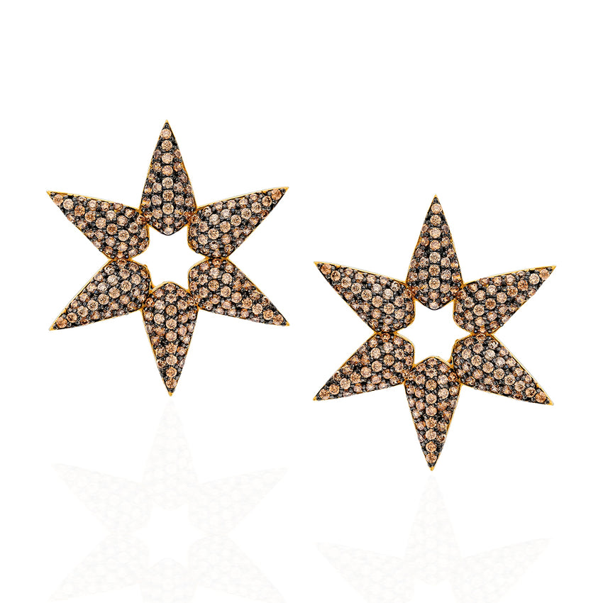 Champagne Quartz star earrings.