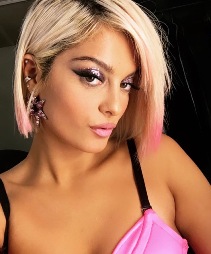 Bebe Rexha wearing MAHISA NIKVAND star earrings at the Victoria's Secret show.