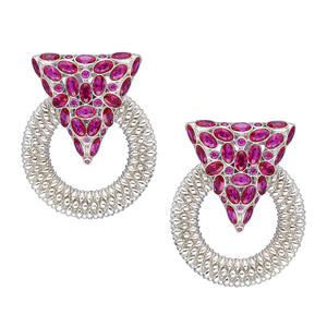 Casa Milla Inspired silver earrings in the 24K white gold plated adorned with ruby red zirconia.