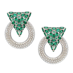 Casa Milla Inspired silver earrings in the 24K white gold plated adorned with emerald green zirconia.
