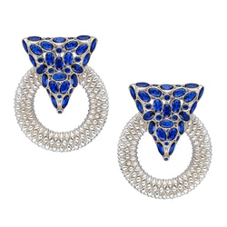 Casa Milla Inspired silver earrings in the 24K white gold plated adorned with Sapphire blue zirconia.