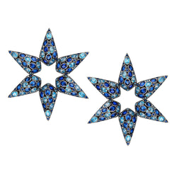 A blue statement star earrings adorned with cultured Sapphire and Aqua quartz stone.