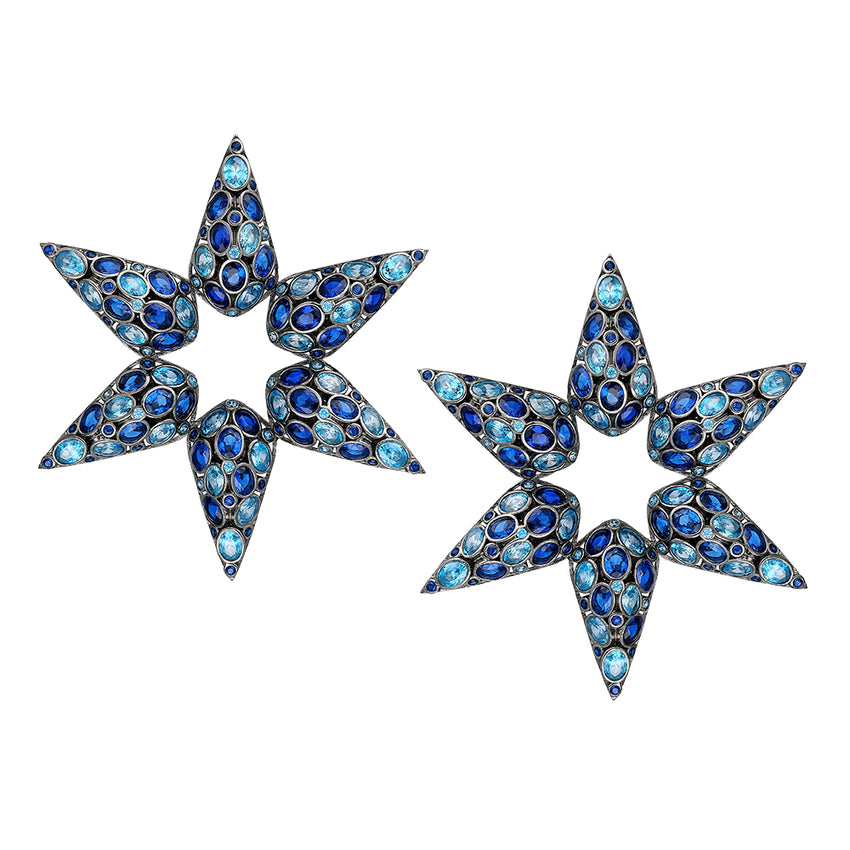 Star earrings with Blue Sapphire.