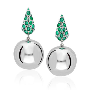 sterling silver earnings with a hanging round ball adorned with emerald green stones.