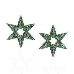 Emerald star earrings.