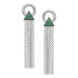 Louvre inspired, gold plated silver tassel earrings with the emerald green stones.