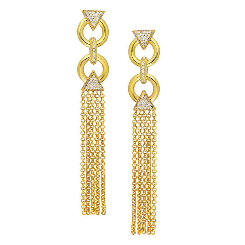 Beautiful chain tassel earrings in yellow gold plated designed by Mahisa Nikvand