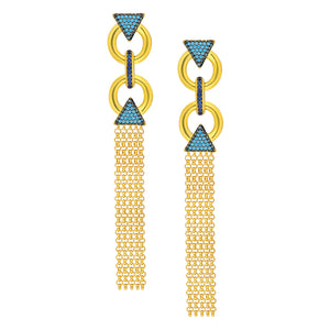 Sterling silver, Tassel earrings in yellow gold plated