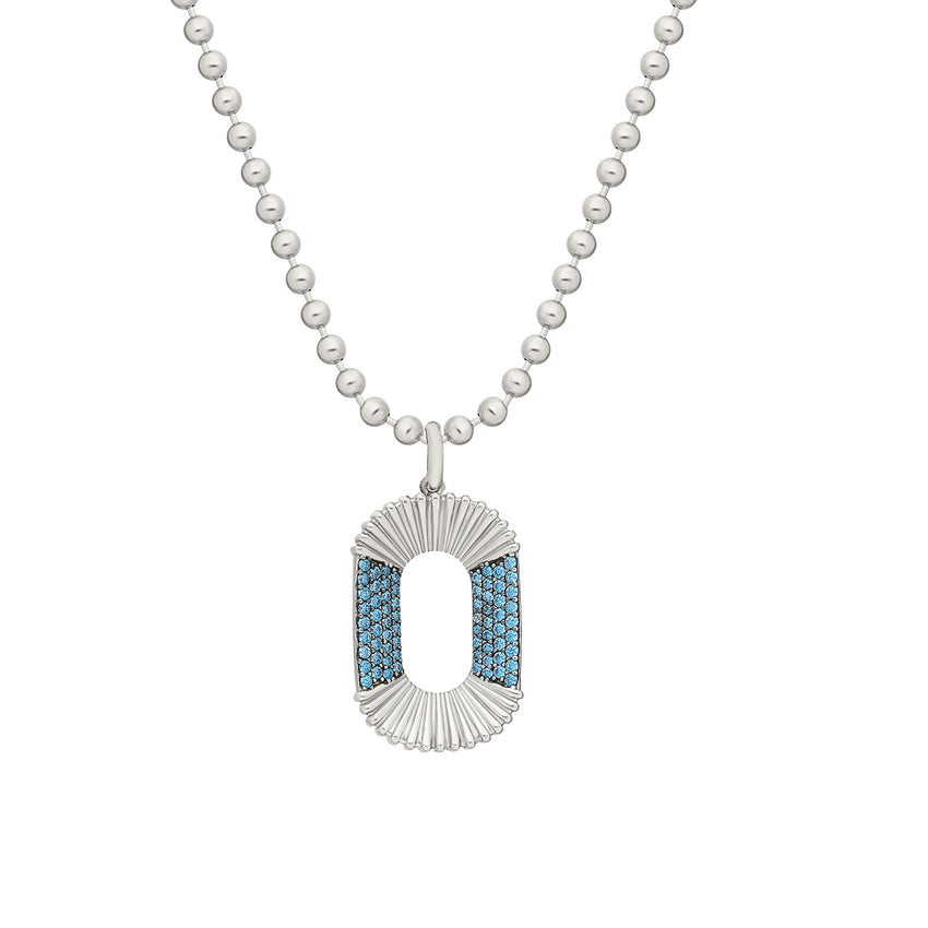 Aqua Blue CC Zirconia, chain necklace