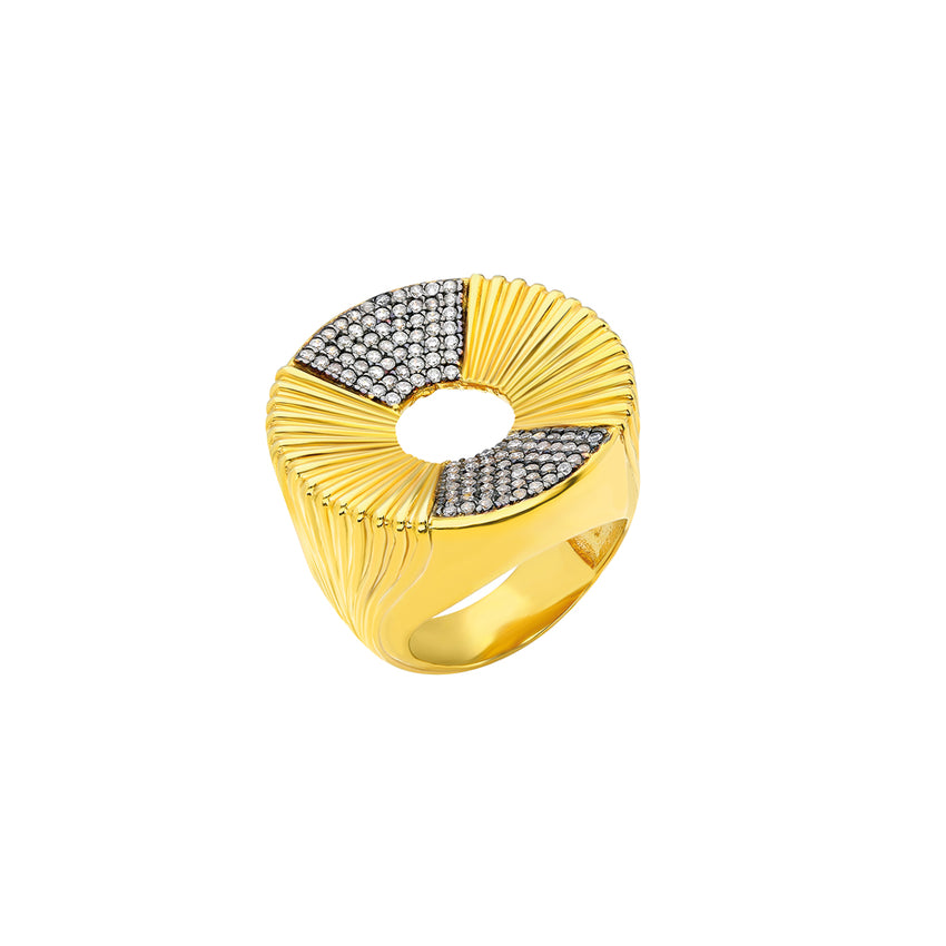 sterling silver ring in gold plated, inspired by bold and beautiful Greek columns and amphitheatre