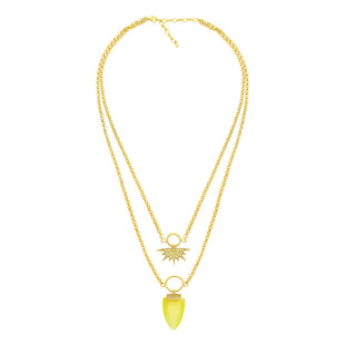 Gold plated, double chain necklace in the yellow stone