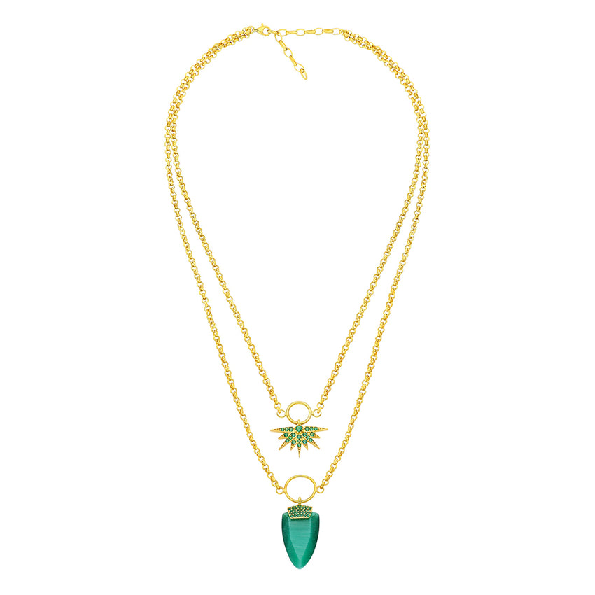Double chain necklace adorned with emerald green stone.