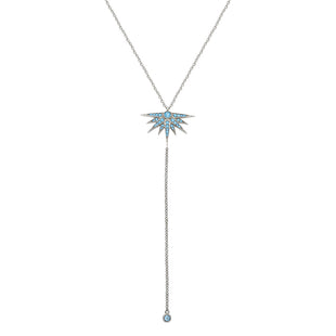 Delicate Chain Necklace adorned with Aqua Blue zircon
