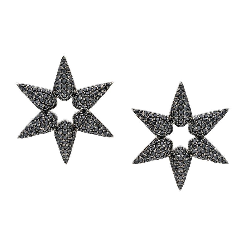 Small Star earrings in Black gemstones.