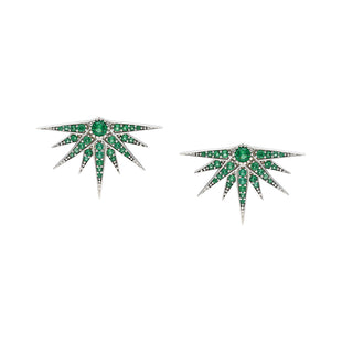 Hera stud Earrings adorned with Cultured Emerald stones from SS20 collection.