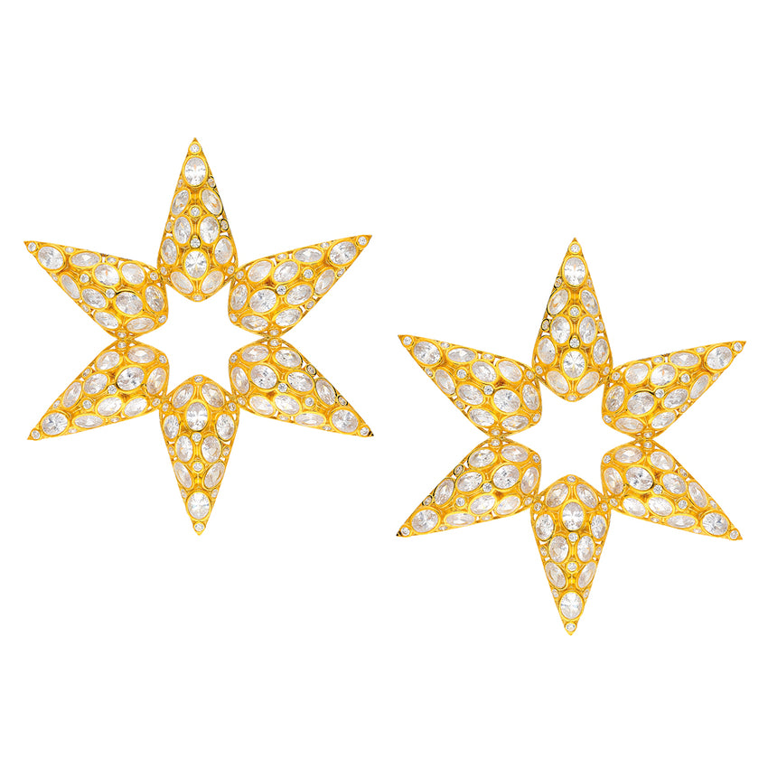 statement star earrings in gold plated
