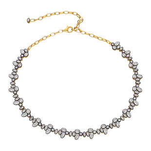 full stone choker necklace in yellow gold plated.