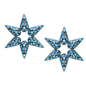 statement sterling silver, star earrings in aqua blue quartz.