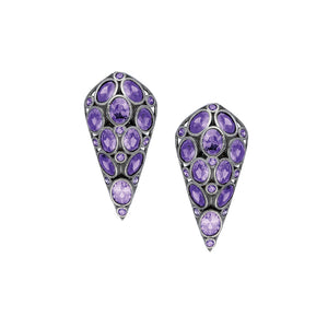 Sterling Silver stud Earrings with purple color stones.
