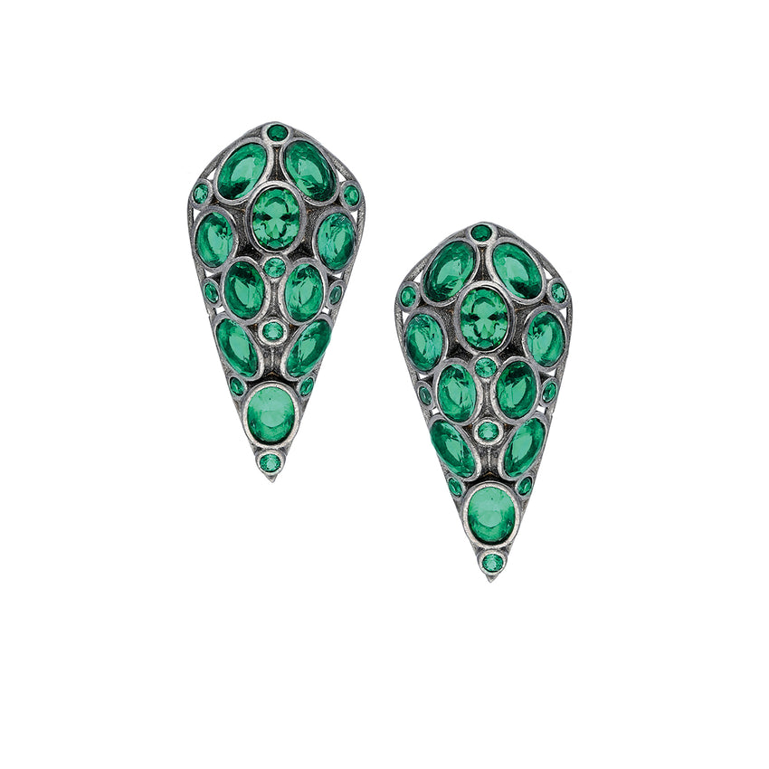 Sterling Silver, stud Earrings with emerald green color stones in Black Rhodium Plated.