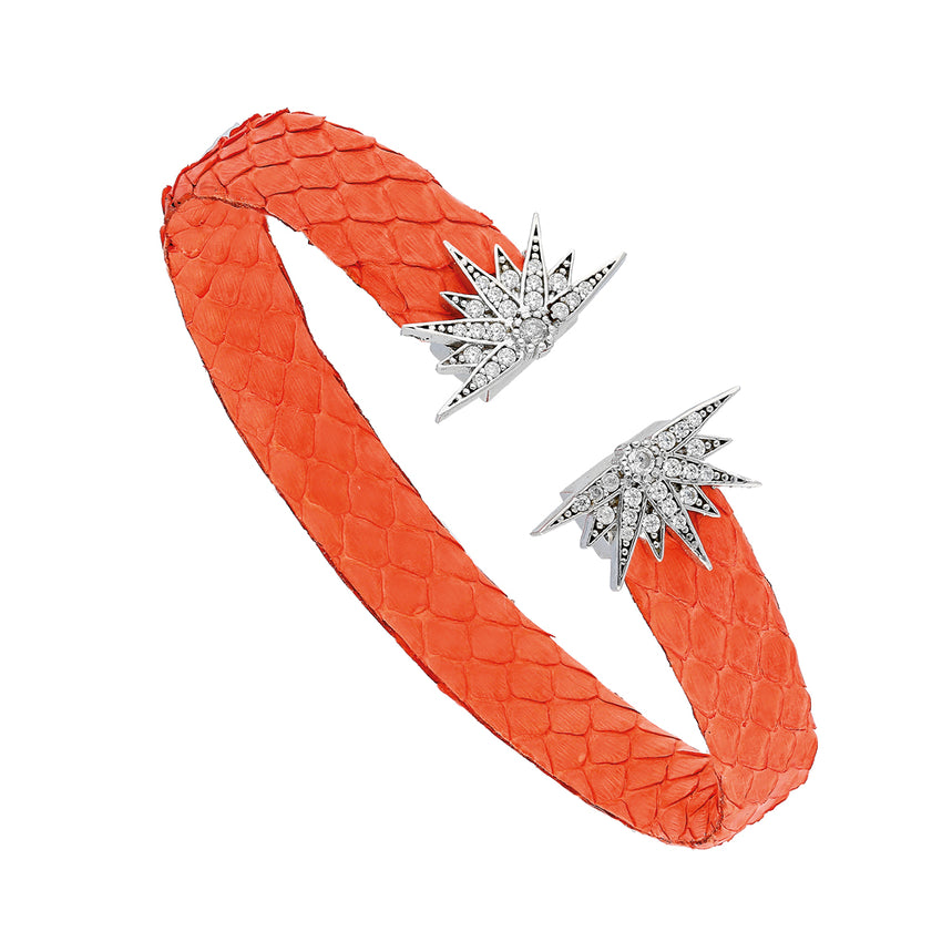 Orange leather bracelet.