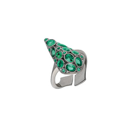 Sterling Silver, adjustable ring with emerald green stones.