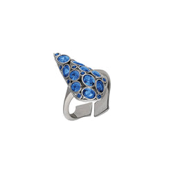 Sterling Silver, adjustable ring with sapphire blue cubic zirconia.