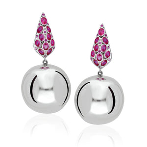 sterling silver earnings with a hanging round ball adorned with ruby red stones.