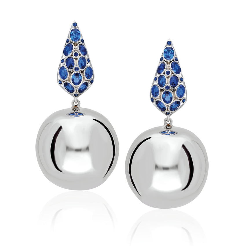 beautifully handcrafted bonbon earrings with Sapphire Blue Stones in white gold plated.
